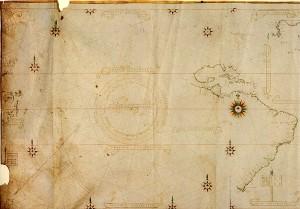 Figura 2 - Il profilo dell'America latina nel Planisfero Castiglioni, 1525.