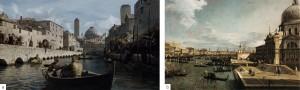 Parallelismo tra Braavos (a) e il Canal grande di Venezia, dipinto da Canaletto (b)