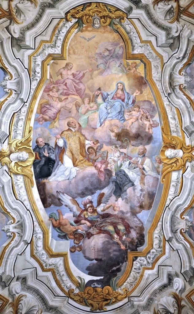 """""""Gloria della Madonna del Fervore, con la Trinità e Santi gesuitici in adorazione"""" di Domenico La Bruna (1699-1763)."""