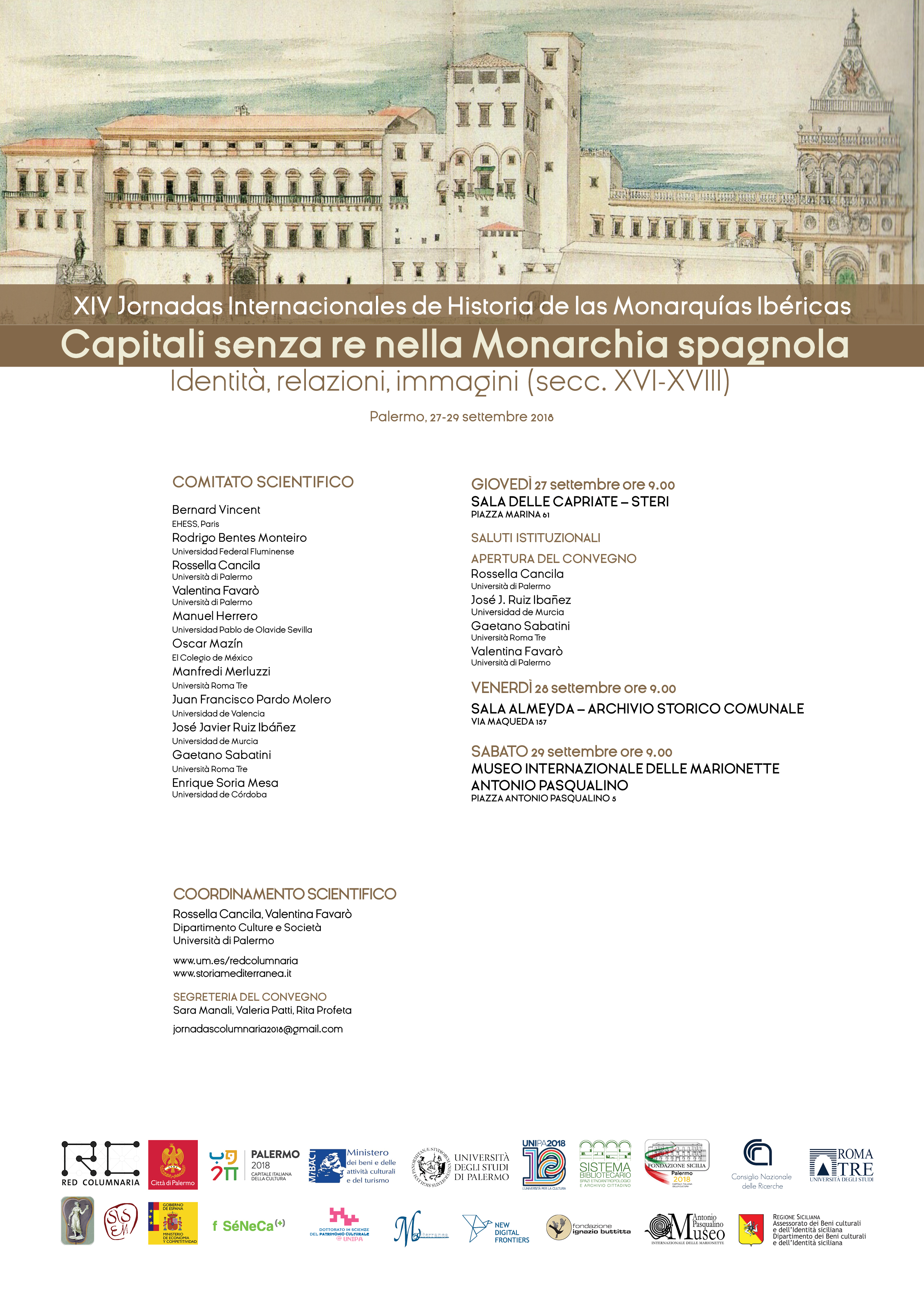 27-28-29 SETTEMBRE A PALERMO IL CONVEGNO INTERNAZIONALE  CAPITALI SENZA RE NELLA MONARCHIA SPAGNOLA