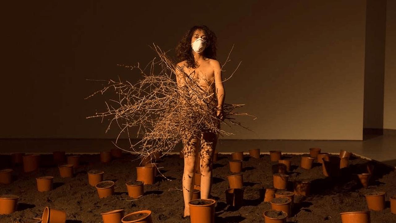 Uomini e donne con le mascherine ricreano il giardino perduto: ritorna l'arte visiva al Marca di Catanzaro